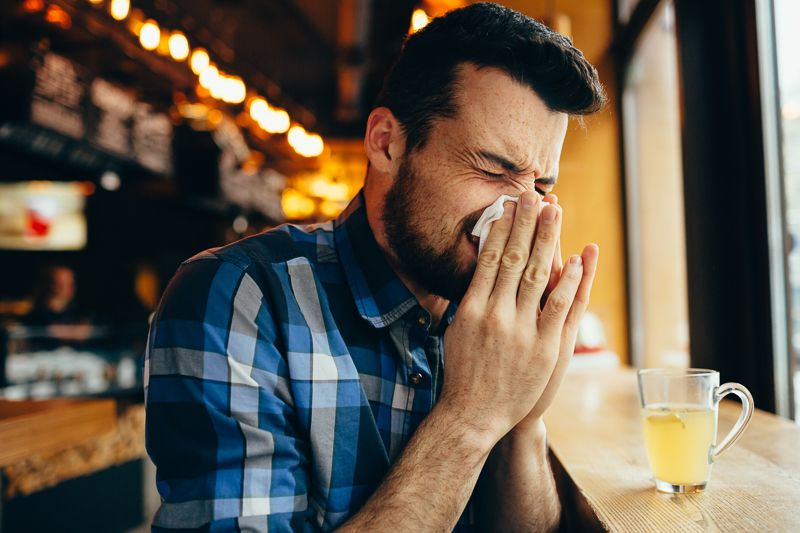 Having a cold with a beard - snotty nose