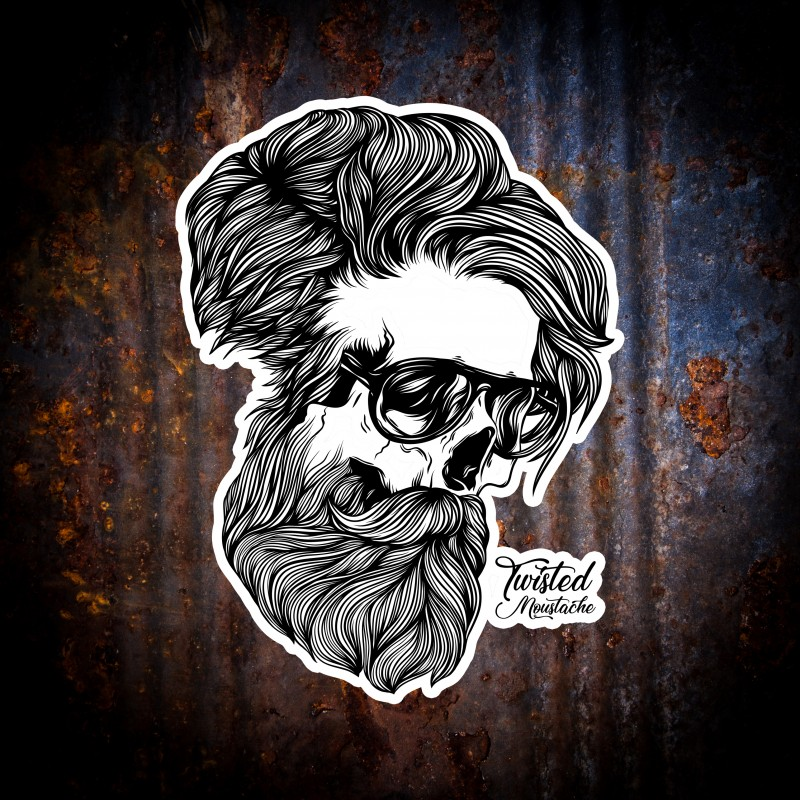 Twisted Moustache Skull & Bone Sticker