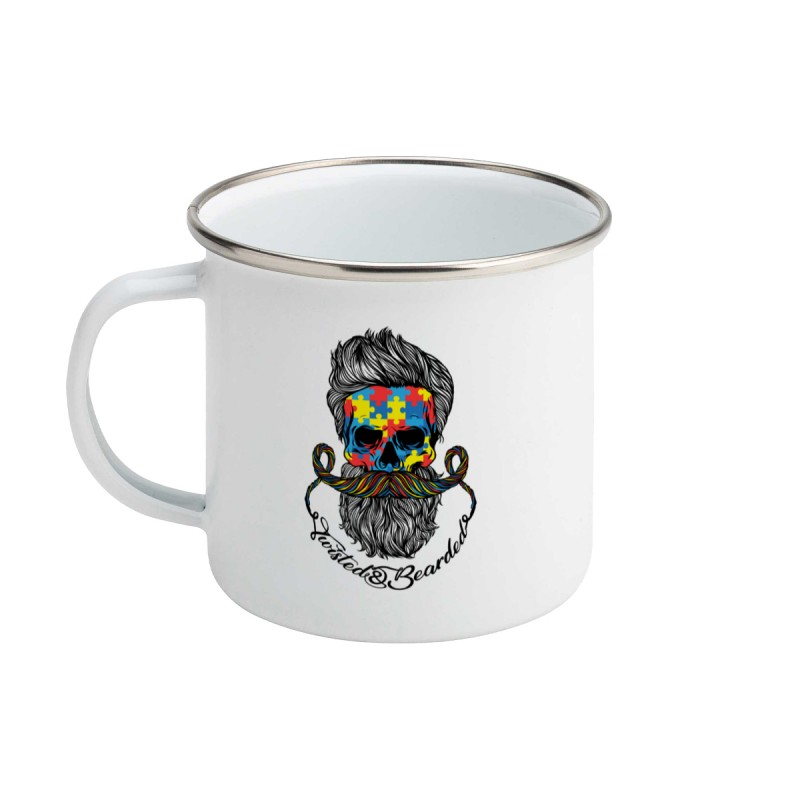Twisted & Bearded Autism Enamel Mug