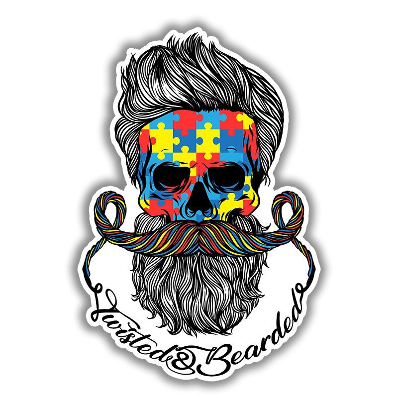 Twisted & Bearded Autism Sticker