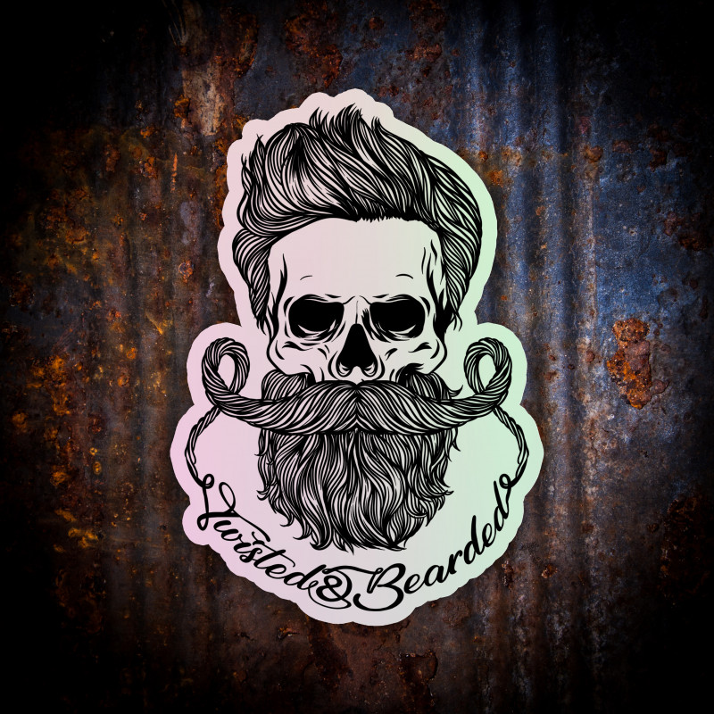 Twisted & Bearded Sticker (Holographic)