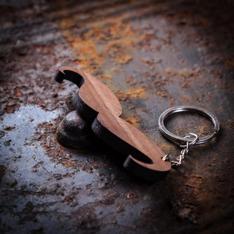 Moustache Walnut Keychain