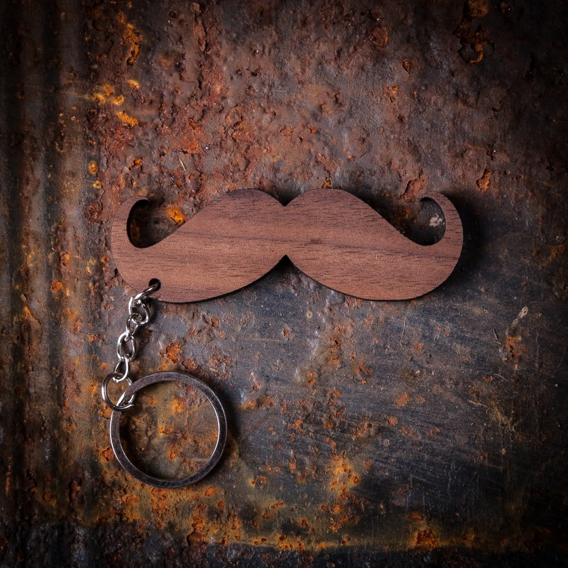 Twisted Moustache Walnut Keychain