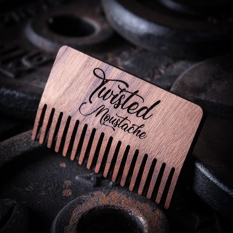 Twisted Moustache Large Walnut Beard Comb