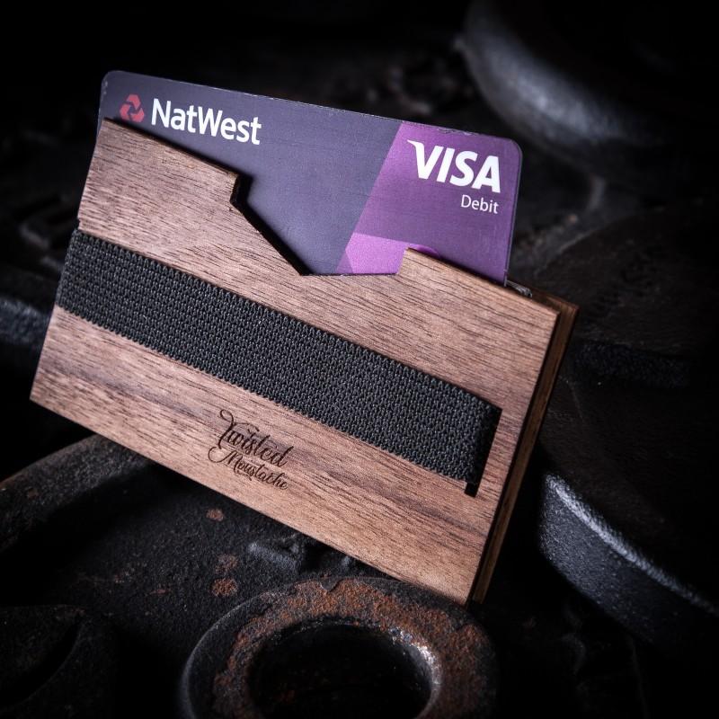 Twisted Moustache Walnut Wooden Wallet