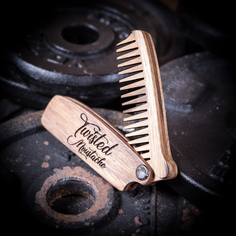 Wooden Folding Beard Comb